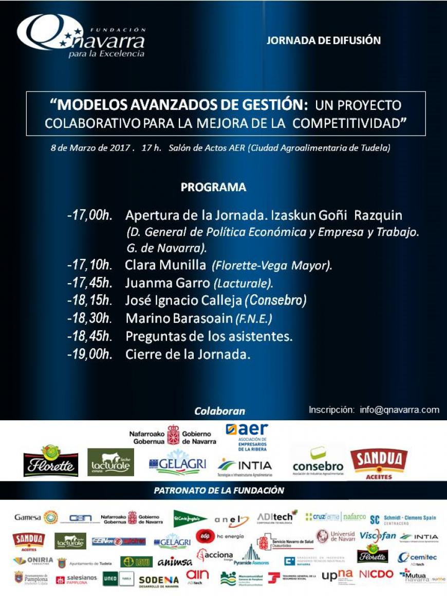 """8/3/2017. JORNADA """"MODELOS AVANZADOS DE GESTIÓN: UN PROYECTO COLABORATIVO PARA LA MEJORA DE LA COMPETITIVIDAD"""""""